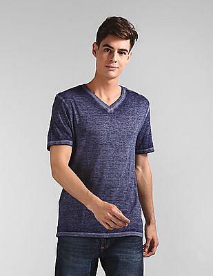 GAP Blue Burnout V-Neck T-Shirt