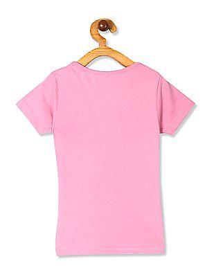 Cherokee Pink Girls Text Print Crew Neck T-Shirt