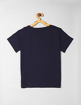 GAP Blue Girls Drop Shoulder Flippy Sequin T-Shirt