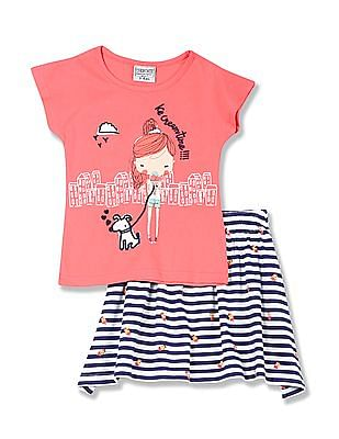 Cherokee Girls T-Shirt And Skirt Set