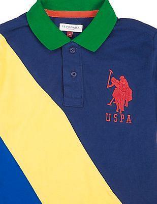 U.S. Polo Assn. Kids Boys Colour Block Pique Polo Shirt