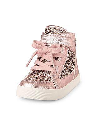 The Children's Place Toddler Girl Glitter Tic Tac Toe Hi-Top Sneaker
