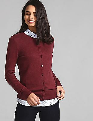 GAP Red Crew Neck Buttoned Cardigan