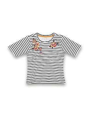 U.S. Polo Assn. Kids Girls Striped Regular Fit T-Shirt