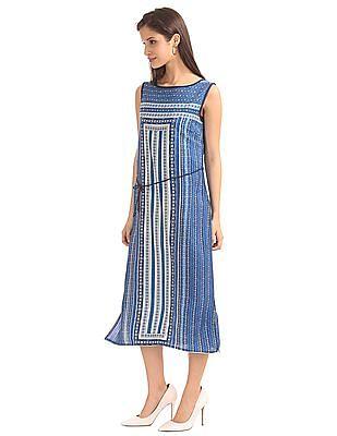 Bronz Geometric Print Midi Dress