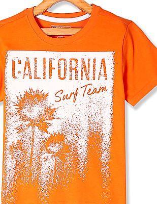 Cherokee Orange Boys Printed Cotton T-Shirt