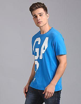 GAP Men Blue Spliced Gap Logo Tee