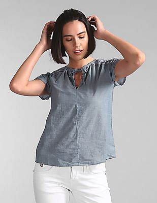 GAP Lace Insert Chambray Top