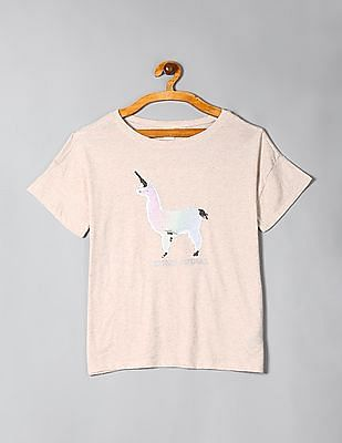 GAP Beige Girls Flippy Sequin Graphic T-Shirt