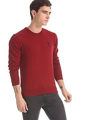 U.S. Polo Assn. Red Crew Neck Solid Sweater