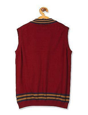 U.S. Polo Assn. Kids Boys Tipped Sleeveless Sweater