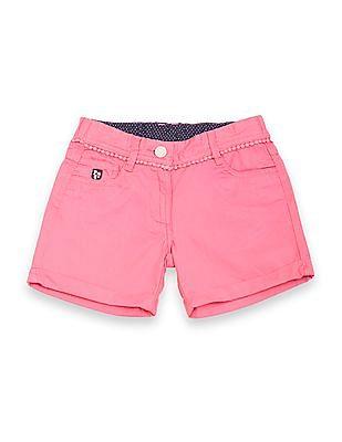 U.S. Polo Assn. Kids Girls Bobble Trim Cotton Shorts