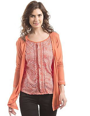 Cherokee Printed Twofer Top