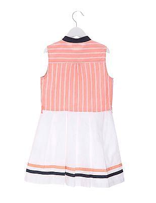 U.S. Polo Assn. Kids Girls Pleated Skater Dress