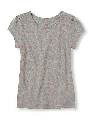 The Children's Place Girls Cap Sleeve Polka Print Top