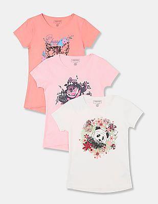 Cherokee Girls Assorted Crew Neck Graphic T-Shirt - Pack Of 3