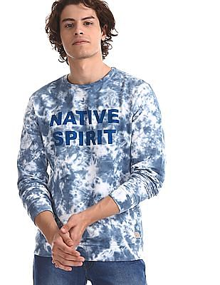 Flying Machine Blue Long Sleeve Tie And Dye Sweatshirt