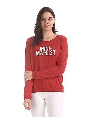 Flying Machine Women Red Graphic Print Cotton Sweatshirt