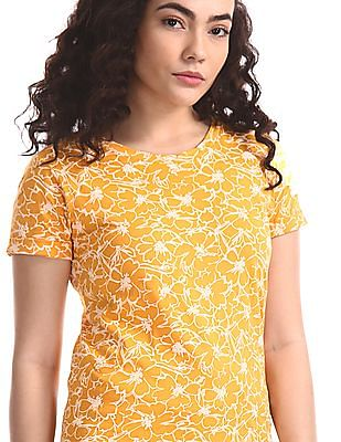 Cherokee Yellow Floral Print Cotton T-Shirt