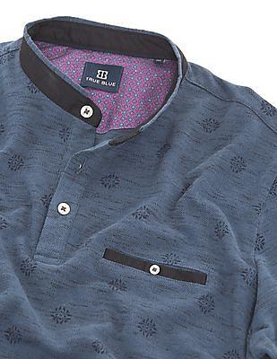 True Blue Printed Regular Fit Polo Shirt