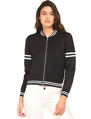 Flying Machine Women Striped Trim Mesh Bomber Jacket