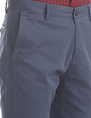 U.S. Polo Assn. Blue Austin Trim Regular Fit Solid Trousers