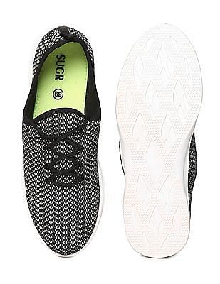 SUGR Contrast Sole Patterned Mesh Sneakers