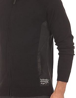 Ed Hardy Panelled Zip Up Sweater