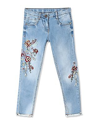 Cherokee Blue Girls Slim Fit Embroidered Jeans