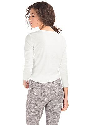 GAP Women White Amour Studded Graphic Long Sleeve Tee
