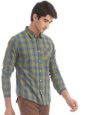 Flying Machine Green And Blue Spread Collar Check Shirt