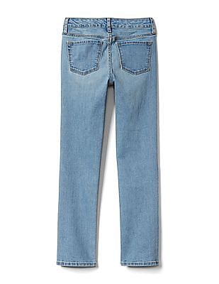 GAP Girls Mid Rise Straight Jeans In Stretch