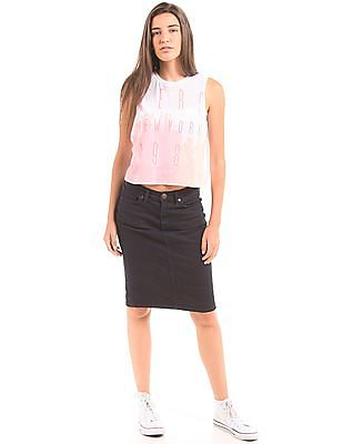 Aeropostale Printed Front Cropped T-Shirt