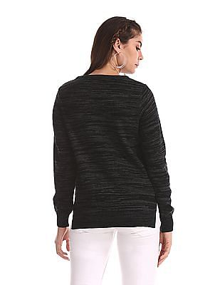 Cherokee Grey Round Neck Patterned Knit Sweater