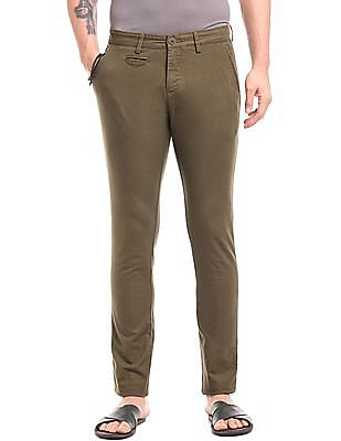 True Blue Slim Fit Cotton Spandex Trousers