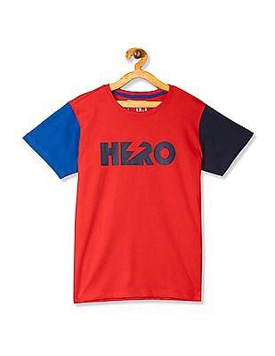 FM Boys Red Boys Colour Block Sleeve T-Shirt