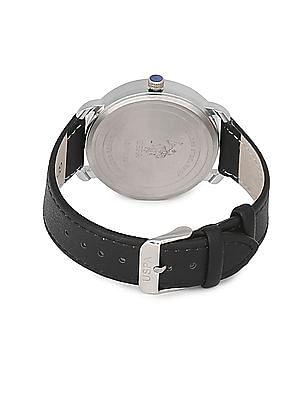 U.S. Polo Assn. Leather Strap Analog Watch