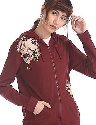 Flying Machine Women Red Printed Hooded Sweatshirt