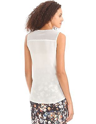 Elle Embossed Mesh Panel Top