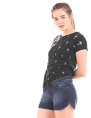 EdHardy Women Regular Fit Printed T-Shirt