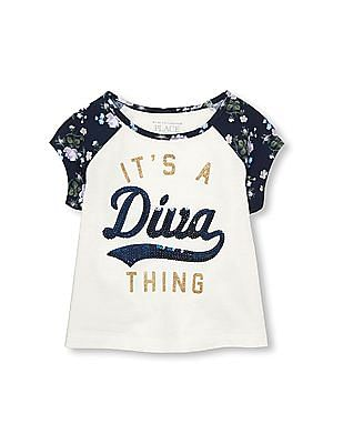 The Children's Place Toddler Girl Short Floral Print Raglan Sleeve Embellished It's A Diva Thing Top