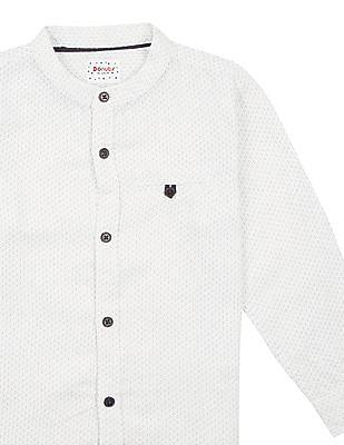 Donuts Boys Mandarin Collar Dot Print Shirt