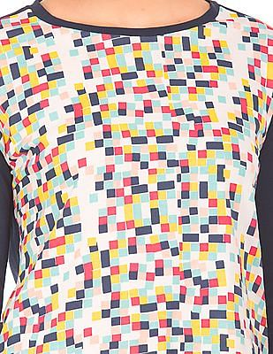 SUGR Tie Up Back Printed Front Top