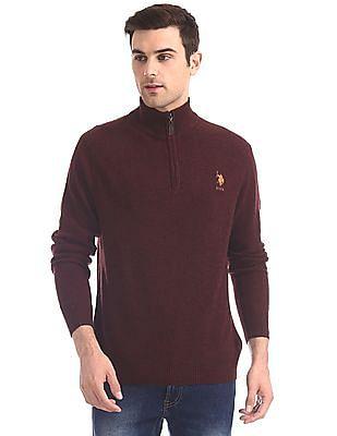 U.S. Polo Assn. Red Half Zip Lambswool Sweater