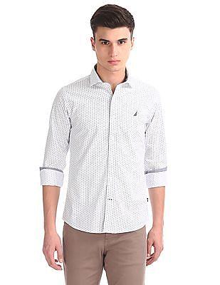 Nautica Long Sleeve Geometric Print Shirt