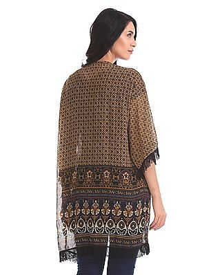 Flying Machine Women Contrast Print Longline Shrug
