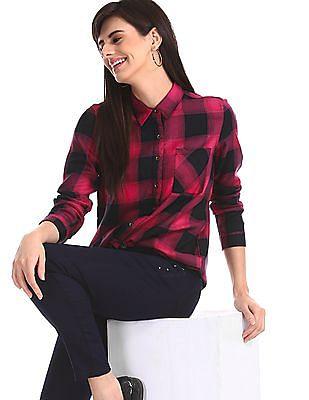 Cherokee Pink Barrel Cuff Check Shirt