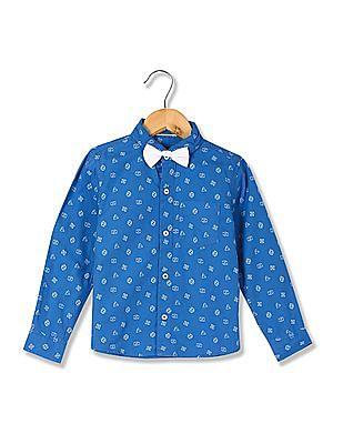 Cherokee Boys Spread Collar Printed Shirt