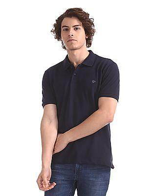 Ruggers Blue Solid Pique Polo Shirt