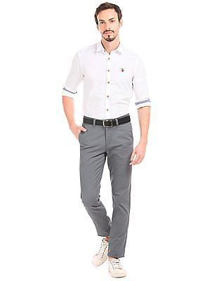 U.S. Polo Assn. Windowpane Check Slim Fit Trousers
